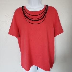 Alfred Dunner Red Short Sleeve Top Faux Necklaces